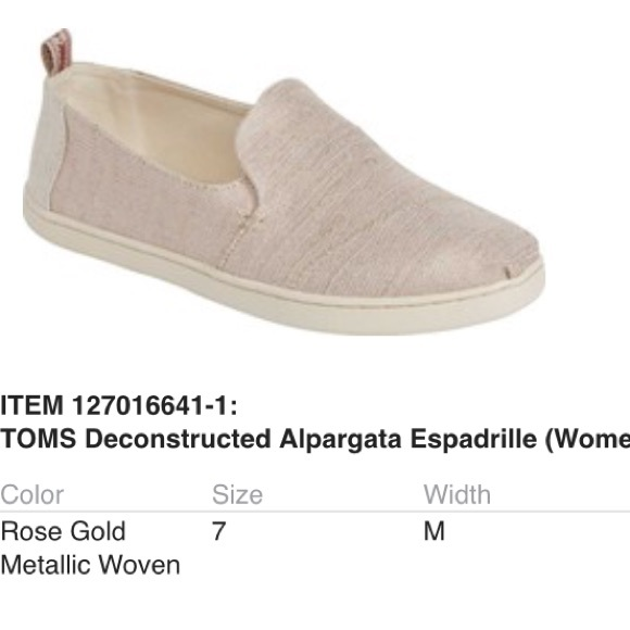 2e7e744a9e67 TOMS Rose Gold Metallic Woven Shoes